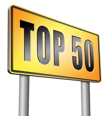 top 50 road sign billboard. Stock Photo