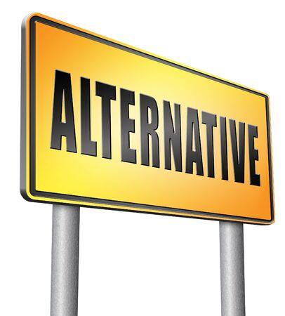 different goals: Alternative road sign billboard. Stock Photo