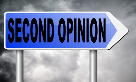 opinion: second opinion road sign billboard. Stock Photo
