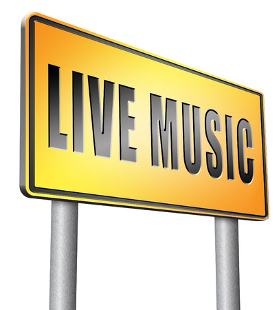 live stream sign: live music road sign billboard. Stock Photo