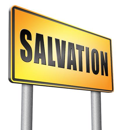 the salvation: salvation, road sign billboard.