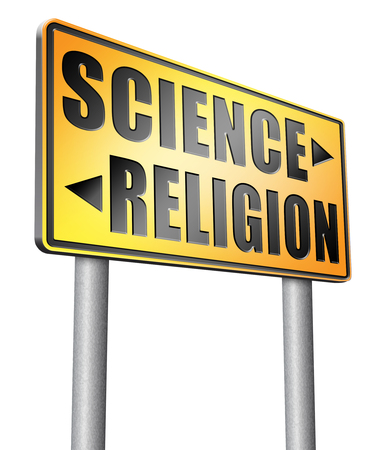 darwinism: science religion road sign billboard.