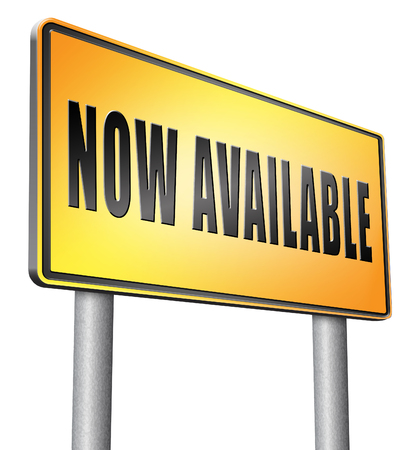 available: Now available, road sign billboard Stock Photo