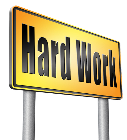 challenges ahead: Hard work road sign billboard. Stock Photo