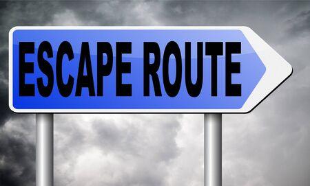 escape route road sign billboard.