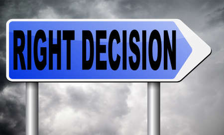 confirm confirmation: right decision road sign billboard. Stock Photo