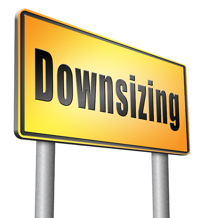 downsized: Downsizing road sign billboard. Stock Photo