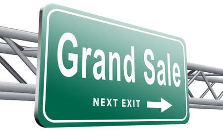 grand sale: Grand sale, road sign billboard.