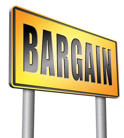 bargain: bargain road sign billboard.