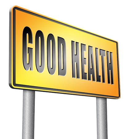 optimum: good health road sign billboard. Stock Photo