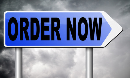 order here: order now road sign billboard. Stock Photo