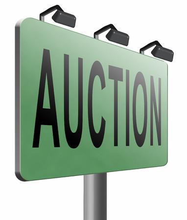 online bidding: auction road sign billboard.