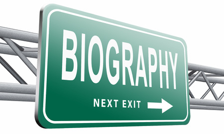 biography: biography road sign billboard. Stock Photo