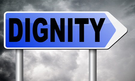 dignity: dignity road sign billboard.