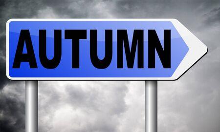 autumn road: autumn road sign billboard. Stock Photo