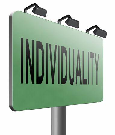 personality development: Individuality, road sign billboard. Stock Photo