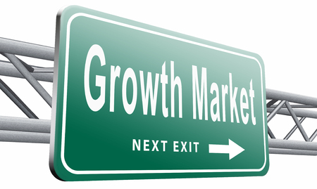 emerging economy: growth market, road sign billboard.
