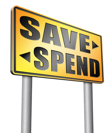 balanced budget: save spend road sign billboard.