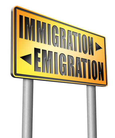 immigrate: immigration or emigration road sign billboard. Stock Photo