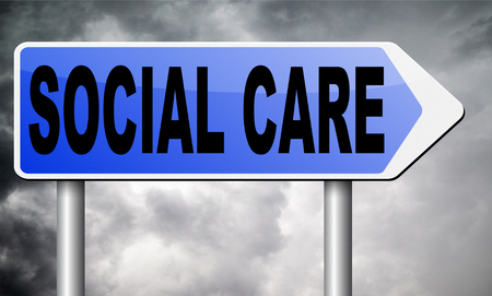 social care: social care road sign billboard.