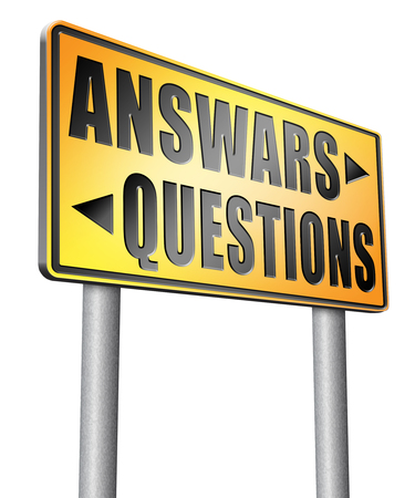 question and answer: question answer road sign billboard.