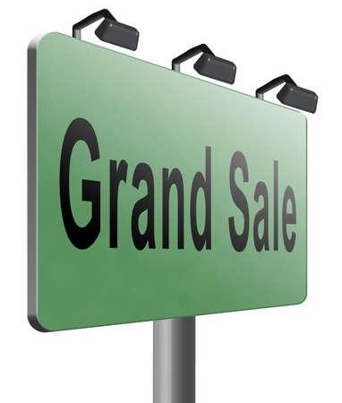 sellout: Grand sale, billboard road sign.