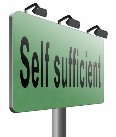 sufficient: Self sufficient road sign billboard.