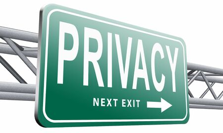 discretion: privacy road sign billboard. Stock Photo