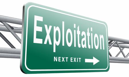 obey: Explotación, cartelera señal de tráfico. Foto de archivo