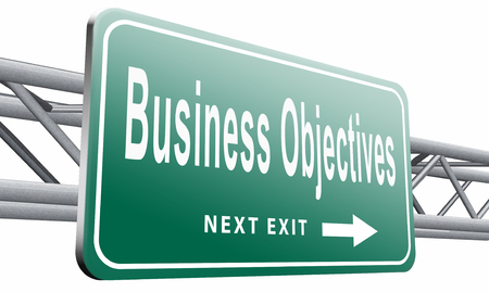 business sign: Business Objectives road sign billboard.