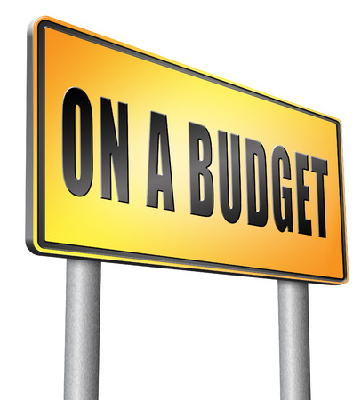 household money: On a budget, road sign billboard. Stock Photo