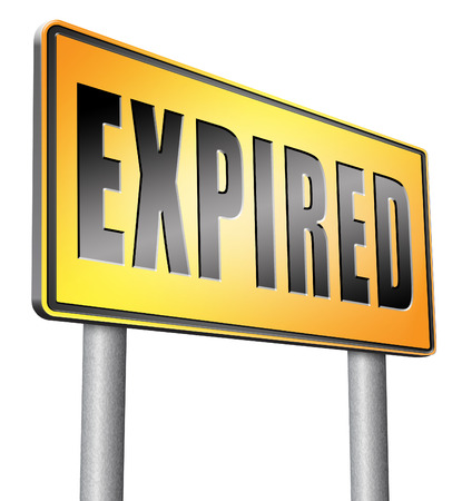 expired: expired road sign billboard. Stock Photo