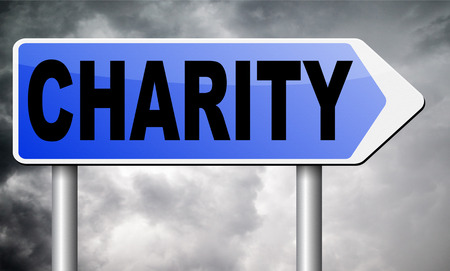 selfless: charity road sign billboard. Stock Photo
