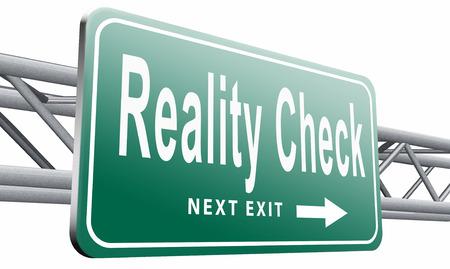 skepticism: Reality check, road sign billboard.