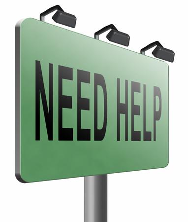 need: need help road sign billboard Stock Photo