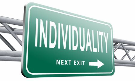 special individual: Individuality, road sign billboard. Stock Photo