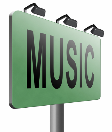 live stream sign: Music road sign billboard.
