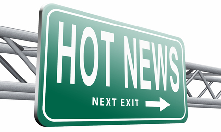 actuality: hot news road sign billboard. Stock Photo