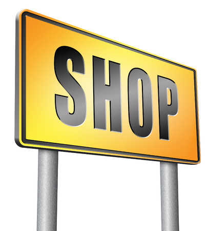 shop sign: Shop road sign Stock Photo
