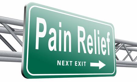 Pain relief, road sign billboard.