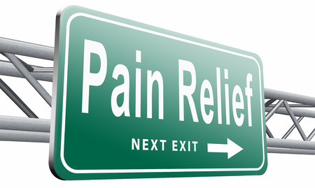 Pain relief, road sign billboard.