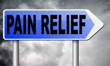 pain management: pain relief sign Stock Photo
