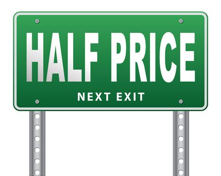 50: half price sale sign 50% sales reduction