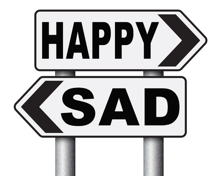 bad feeling: sad or happy joy and happiness against sadness and bad feeling emotions no regrets good vibrations, think positive and optimistic