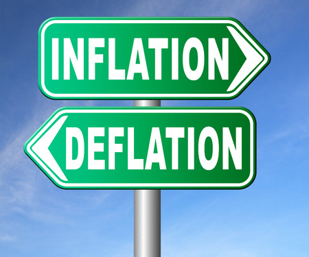 bank crisis: inflation deflation bank crisis or financial and economic recession or stock market crash or rise sign