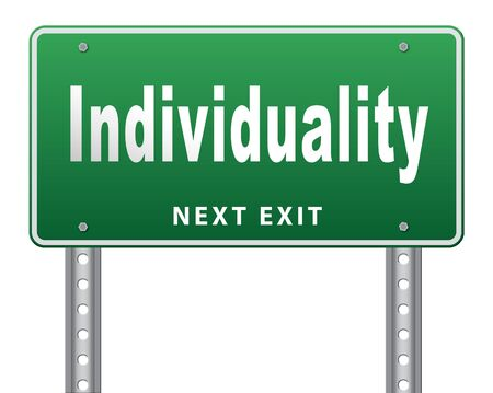 stand out from the crowd: Individuality stand out from crowd and being different, having a unique personality be one of a kind. Personal development and existence, road sign billboard.