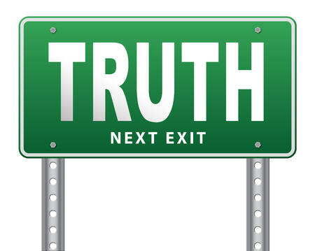 long way: Truth be honest honesty leads a long way find justice law and order, road sign billboard. Stock Photo