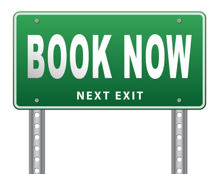holliday: book now online ticket booking for flight holliday or vacation road sign billboard Stock Photo