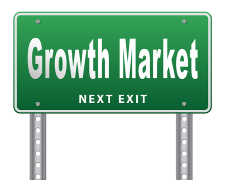 emerging markets: growth market economy growing emerging economies in international and global leading countries, road sign billboard.