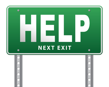 road assistance: help search find assistance and helping hand, support or help desk online support help road sign, billboard. Stock Photo